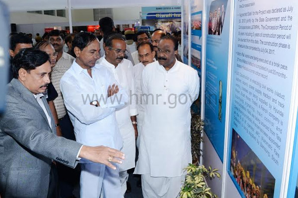 Chief Minister Mr. K Chandrasekhar Rao visits HMR stall at CREDAI property show, Hitex