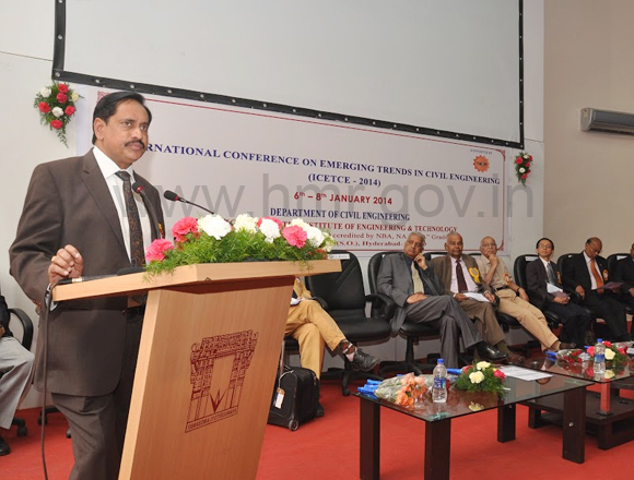 HMR MD Mr. N.V.S. Reddy inaugurating 'International Conference on Emerging Trends in Civil Engineering', at VNR VJIET, Bachupally, dt: 06.01.2014