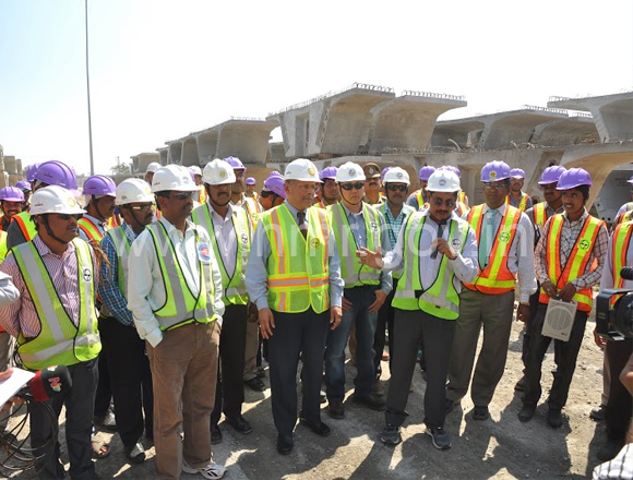 HMR MD Mr.NVS Reddy conducting a media tour to Qutbullapur Precast Yard, dt: 04.02.2014