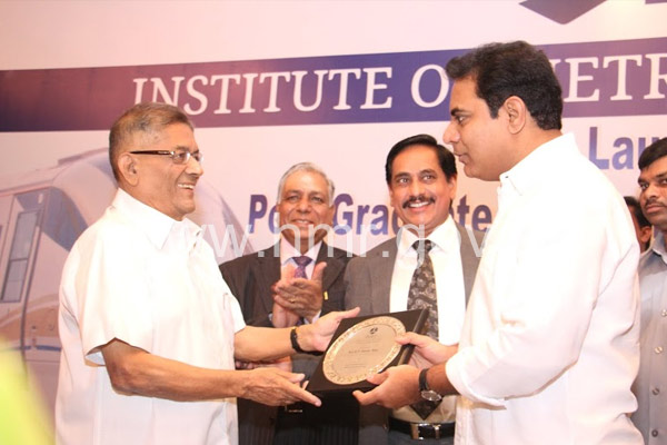 MD, HMR Mr.NVS Reddy and IT Minister K T Rama Rao at the inauguration ceremony of IMRT (Institute of Metro and Rail Technology) on 01-08-2014